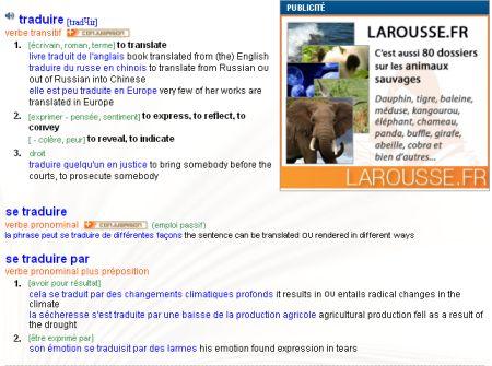 Larousse Wörterbuch Französisch-Englisch online